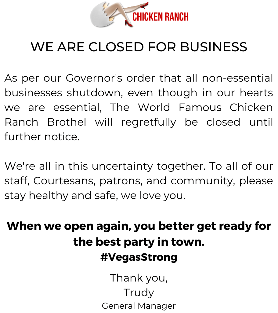 Nevada Brothel Closed